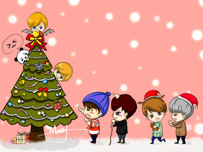 FANART] Chibi EXO Decorating a Christmas Tree