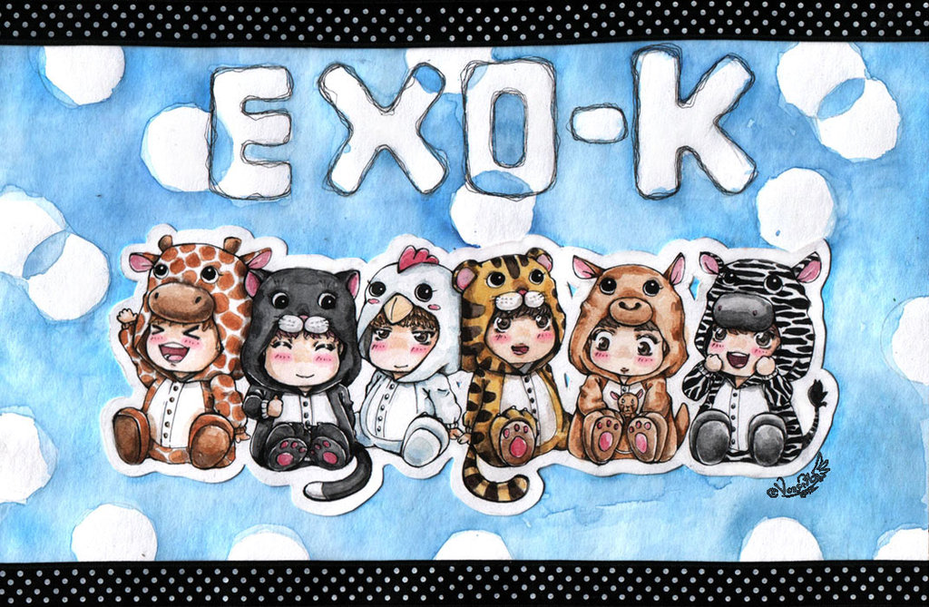 FANART Chibi EXO In Cute Animal Costumes